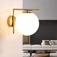 現代簡約led壁燈北歐臥室床頭墻燈玻璃燈罩不銹鋼圓形壁燈