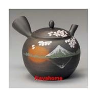 《富樂雅居》日本製 常滑燒 玉光黑 千段櫻富士 急須壺 (290ml)