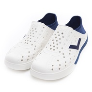 PONY【92U1SA02DB】Enjoy 洞洞鞋 水鞋 海灘鞋 可踩跟 懶人拖 菱格紋 白深藍 男女尺寸都有