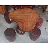 原木香樟木泡茶桌椅組 一格二手家具 客廳店面原木家具 懷舊時尚