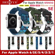 Camouflage Soft Silicone Strap สายนาฬิกา For Apple Watch 6 SE 5 4 band 40MM/44MM i Watch series 3 2 1 Wristband 38mm/42mm Belt Silicone Loop bracelet Watch Strap for apple watch ทุกซีรีย์ 6 5 4 3 2 SE watchband acceccories