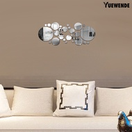 30Pcs Wall Sticker 3D Mirror Surface Round Acrylic Mirror Removable Wallpaper for Living Room