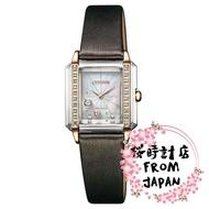 【日本原裝正品】CITIZEN 星辰 Eco-Drive 光動能 鑲鑽方形錶 棕色 高質感休閒女錶 EG7068-16D