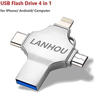 128GB iPhone USB Flash Drive for iPhone 11/6/6S/6 Plus/7/7Plus/8/8 Plus/XS X XR iPad Mac Pro, 3.0 4 in 1 Memory Stick External Storage for iOS/Android/PC/iPad Air (Silver)