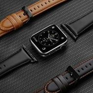 DD蘋果apple watch真皮錶帶 1/2/3/4/5/6/SE代 通用防水透氣牛皮錶帶 38/40/42/44mm