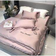 【新品】 100%純天絲床包80支純色雙面天絲四件套萊賽爾簡約文藝冰絲滑裸睡床上用品 (雙人/加大/特大)