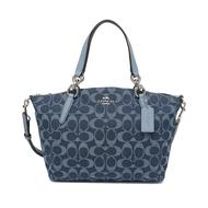 กระเป๋าถือ COACH แท้ ผ้ายีนส์ลาย SIGNATURE สายหนังแท้ มีสายยาว COACH 25891 KELSEY SATCHEL IN SIGNATURE DENIM สีน้ำเงิน
