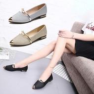 รองเท้าคัชชูหัวแหลม ส้นเตี้ย สายคาดประดับมุก รองเท้าแฟชั่นผู้หญิงเรียบหรู ใส่ออกงานสวยๆ เบอร์ 35-40