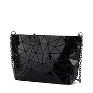 Glossy Black Mixed Triangles Issey Miyake BAOBAO Geometric Sling Bag / Clutch