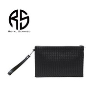 【ROYAL SCHMIED】黑色經典時尚編織拉鍊手拿包