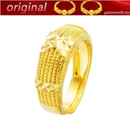 【916 gold】 Real gold and linen pattern old nine doors Buddha with the same opening couple ring gold gold ring female