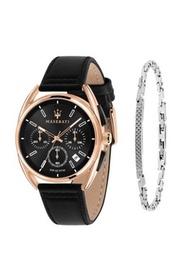 Trimarano 男士黑色皮革石英計時碼手錶 R8871632002 + 精鋼手鍊 JM07