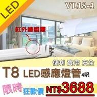 《破盤10入組》【基礎照明旗艦店】(WPVL18-4呎) LED T8感應式燈管 20W-4呎 免啟動器 節能省電 日光燈管 層板燈 感應即亮燈 保固