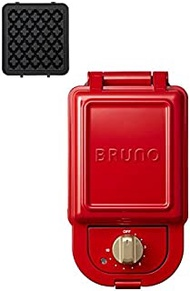 BRUNO Hot Sand Maker 【Japan Domestic genuine products】【Ships from JAPAN】 … (single+Waffle Plate set of 2, Red)
