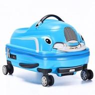 เด็กกระเป๋าเดินทางแบบลาก Spinner 3D กระเป๋าเดินทางสกู๊ตเตอร์สำหรับเด็กรถเข็นโดยสารกระเป๋าเดินทางนักเรียนเด็กน่ารักพกพา Trunk