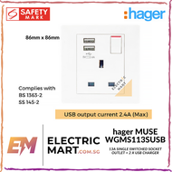 hager MUSE WGMS113SUSB 13A single switched socket outlet + 2 x USB charger c/w M3.5 x 27mm long screws (Suitable for BTO switch replacement, HDB, new installations, Singapore standard size switch hole for easy installation) *NEW beehive-like design plate