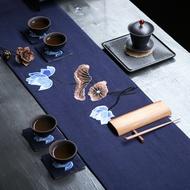 中國風刺繡荷花茶布茶席棉布麻布禪意布藝茶墊隔熱墊干泡茶旗桌旗