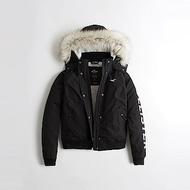 HCO Hollister 海鷗 年度熱銷極地保暖連帽風衣外套(女)-黑色