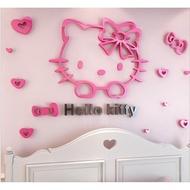 Hello kitty立體壁貼 KT 壓克力 3D壁貼 床頭背景 水晶立體牆貼 愛心臥室立體牆貼 造型 壁貼