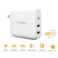 【Innowatt】USB Type-C 60W PD3.0/QC3.0三孔智能快速充電器 旅充Power 360(可支持iPhone/iPad快速充電)