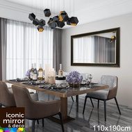 110x190cm Large Wall Decor Contemporary Mirror (Iconic Mirror) M1368 - top quality mirror gold line on dark frame big mirror iconic cermin besar 5mm beveled edge full length long mirror standing mirror dressing mirror cabinet