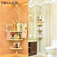 免打孔不鏽鋼四層帶毛巾掛架可伸縮頂天立地浴室廚房置物架轉角收納架浴室整理架