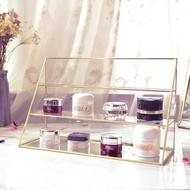 Aymhouse 收納櫃 飾品櫃 整理櫃 飾品架 三層 三格 桌上收納 玻璃架 玻璃 黃銅 金色 生活雜貨ILA03K5