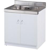 【C998-01】流理台水槽雙開門(白色)(A-022)不銹鋼面/櫃體塑鋼材質