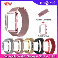 Milanese Watchband For Apple Watch series 6 SE 5 4 3 2 1 Stainless Steel Women Men Replacement Bracelet Band Strap + Case for apple watch 38mm 42mm 40mm 44mm