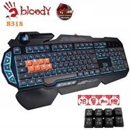 【A4 雙飛燕 Bloody】八光軸機械鍵盤B318(加贈8顆黑色替換鍵帽)