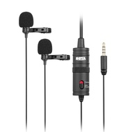 BOYA BY-M1DM Dual Omni-directional Lavalier Microphone Lapel Clip-on Condenser Microphone for Canon