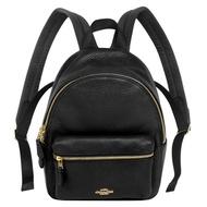 COACH黑色荔枝紋全皮前口袋小款後背包