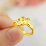 แหวนทอง999แหวนหัวใจคู่เท้าทองหญิงเปิดรักแหวนหาง24kเครื่องประดับแหวนหัวใจแท้ทองคำแท้