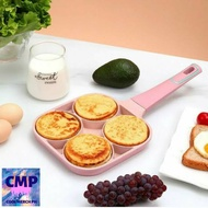 NEW (Pink) 4 Hole Omelet Pan Induction Cooking Tool for Breakfast Non-stick Ham Wooden Handle