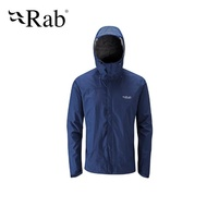 【英國 RAB】Downpour Jacket 高透氣連帽防水外套 男款 暮藍 #QWF61(防水外套)