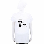 KARL LAGERFELD Ikonik 卡爾貓咪圖案白色棉質短T恤