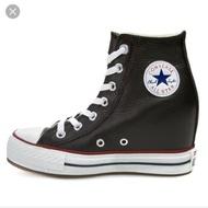 Converse 高筒帆布鞋 荔枝皮 黑色