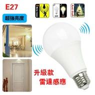 ✨110V 適用Led微波雷達人體感應燈泡12w 白光  微波雷達 人體感應燈泡 智能光控  E27 LED燈 節能燈泡