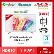 Hisense Smart Android Box TV 65 Inch 4K UHD Television can Netflix Anycast Televisyen Free TV Bracket Hdmi 电视机 65A7400F