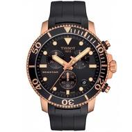 【TISSOT 天梭】Seastar 1000海洋之星300米潛水三眼計時錶-45mm/黑x金(T1204173705100)