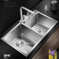 水槽 加厚手工水槽雙槽304不銹鋼水槽廚房洗菜盆洗碗池套餐台下盆T 七夕節禮物