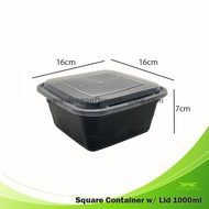 1000ML SQUARE CONTAINER WITH LID 300PCS PER CARTON, Microwaveable container, Soup cup, food container, plastic container, plastic bowl, takeout box, tub, cup, food storage, meal box