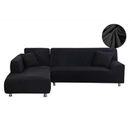 WOMACO L Shape Sofa Covers Sectional Sofa Cover 2 pcs Stretch Sofa Slipcovers for L-Shape Couch - Bl
