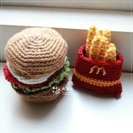 【布棉花】手鉤玩具, 手創, 手作娃娃, 毛線美食, 麥當勞漢堡餐+薯條