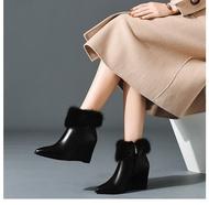 รองเท้าคัชชูรองเท้าส้นตึกใหม่ผู้หญิงสวยส้นสูงBootขนสัตว์Giày Cao Gót Nữ 7Pรองเท้าแตะส้นสูง
