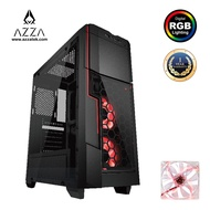 AZZA Mid Tower Temped Glass Gaming Case Crimson 211G – Black