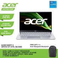 Acer New Laptop Swift 3 51YL ( IPS 14 Inch FHD 100% SRGB / Intel Core I5 1135G7 / 8GB Ram / 512GB NVME SSD / Intel Iris XE / Window 10 + Microsoft Office Home & Student 2 Years Warranty)