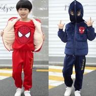 Tsai🍓蜘蛛人童裝  男孩金絲絨套裝三件套 冬款加絨加厚兒童衣服長袖運動服 蜘蛛人運動服