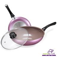 【Mama Cook】香檳紫陶瓷不沾鍋具組-炒鍋+平底鍋