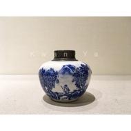 日本 青花茶葉罐 青花 茶葉罐 茶道具 茶入 茶倉 抹茶道 煎茶道 茶道 茶文化 茶罐